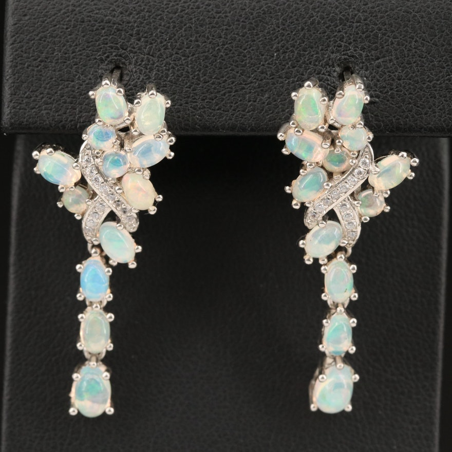Sterling Opal and Cubic Zirconia Infinity Earrings