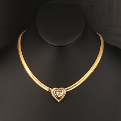 18K 2.77 CTW Diamond Heart Omega Link Necklace