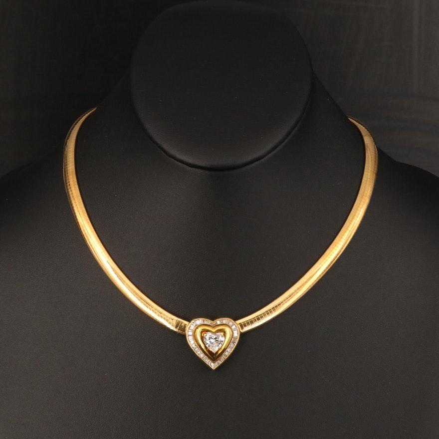 18K 2.77 CTW Diamond Heart Omega Link Necklace