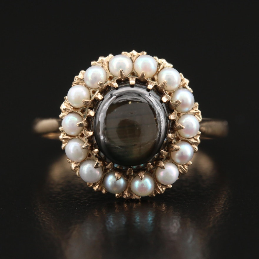 Vintage 14K Star Sapphire and Pearl Halo RIng