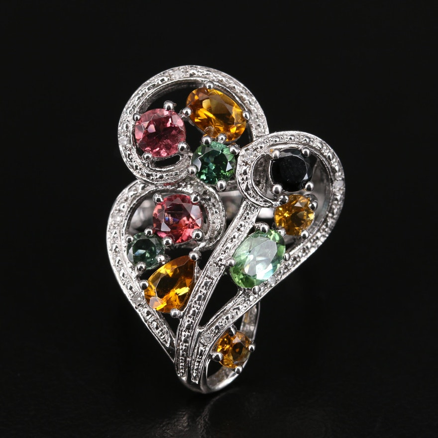 Sterling Tourmaline and Diamond Scrollwork Ring