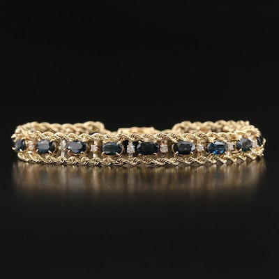 14K Sapphire and Diamond Double Rope Chain Link Bracelet