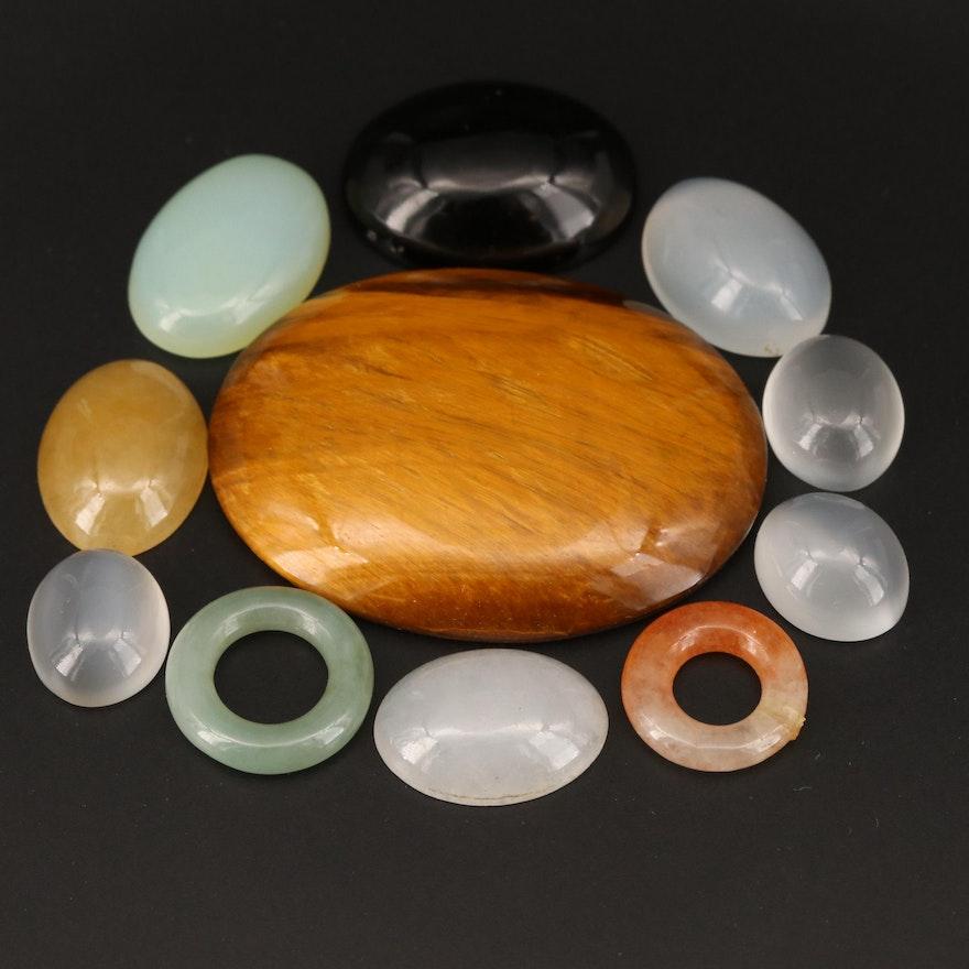 Loose Jadeite, Tiger's Eye, Cat's Eye Moonstone and Additional Gemstones