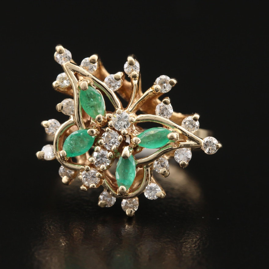 14K Emerald and Diamond Butterfly Ring