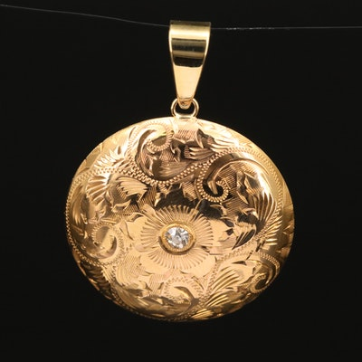 Circa 1900 Swiss 14K Auréole Watch Case Cover Pendant