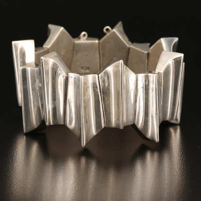 Modernist Mexican Sterling Panel Bracelet