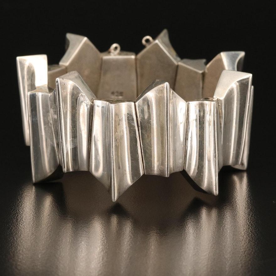 Modernist Mexican Sterling Panel Bracelet
