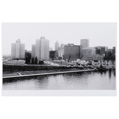 W. Glen Davis Halftone of Pittsburgh Viewed From River