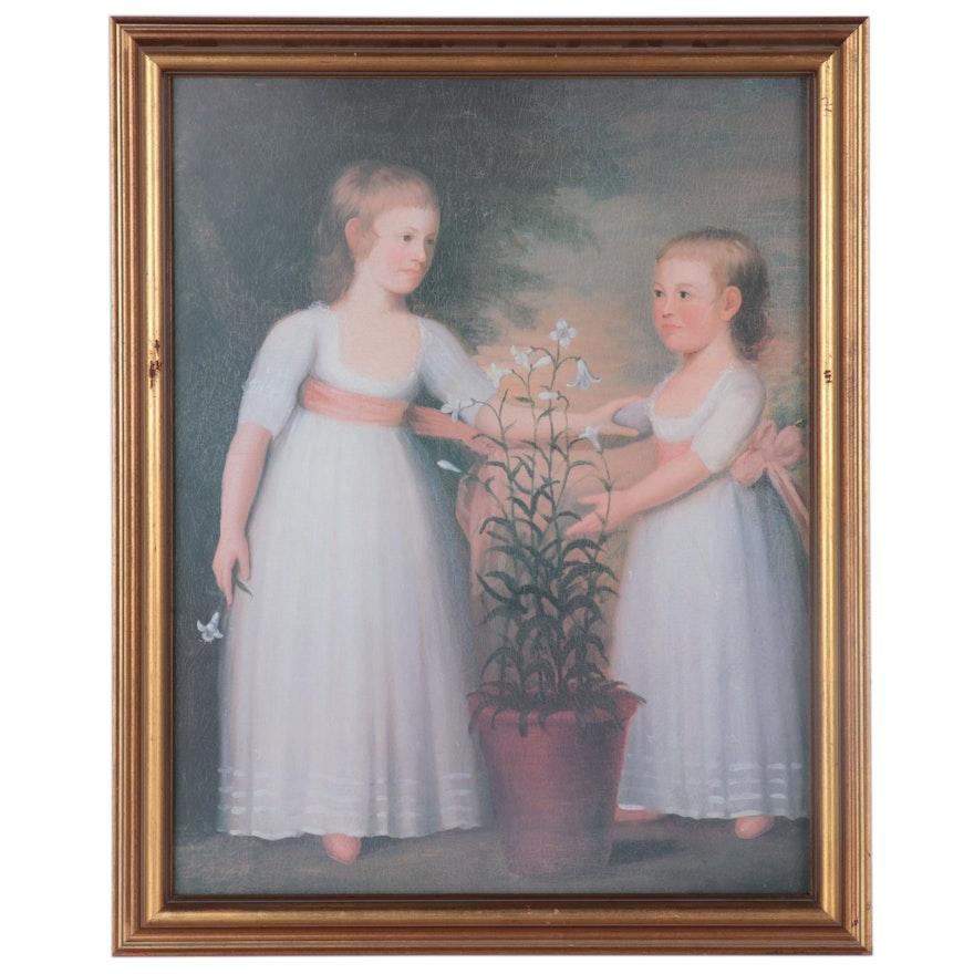 "Offset Lithograph after Edward Savage ""Double Portrait of the Davis Children"""