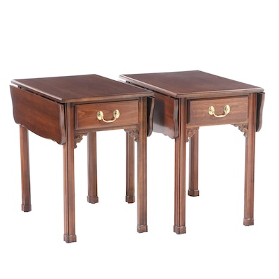 Pair of Harden Chippendale Style Cherrywood Pembroke Tables, Late 20th Century