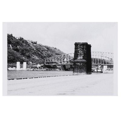 W. Glen Davis Halftone of City Riverbank With Distant Bridge