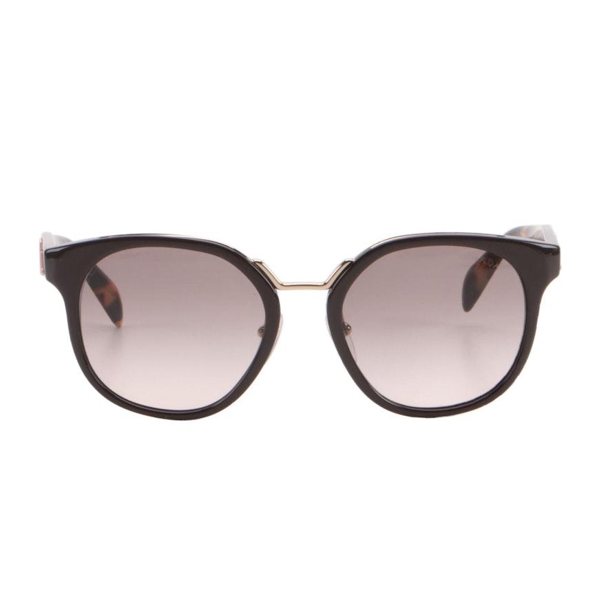 Prada SPR 17T Havana Brown Round Sunglasses with Floral