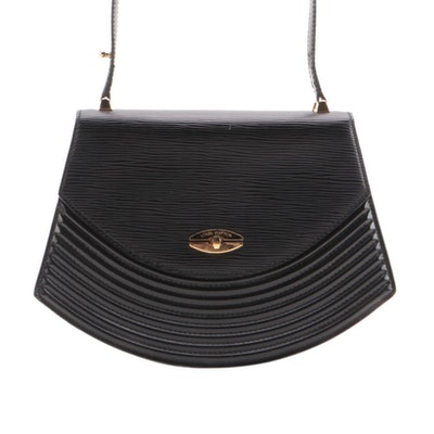 Louis Vuitton Tilsitt Shoulder Bag in Black Epi and Smooth Leather