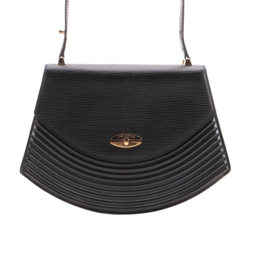 Louis Vuitton Tilsitt Shoulder Bag in Black Epi and Smooth Leather