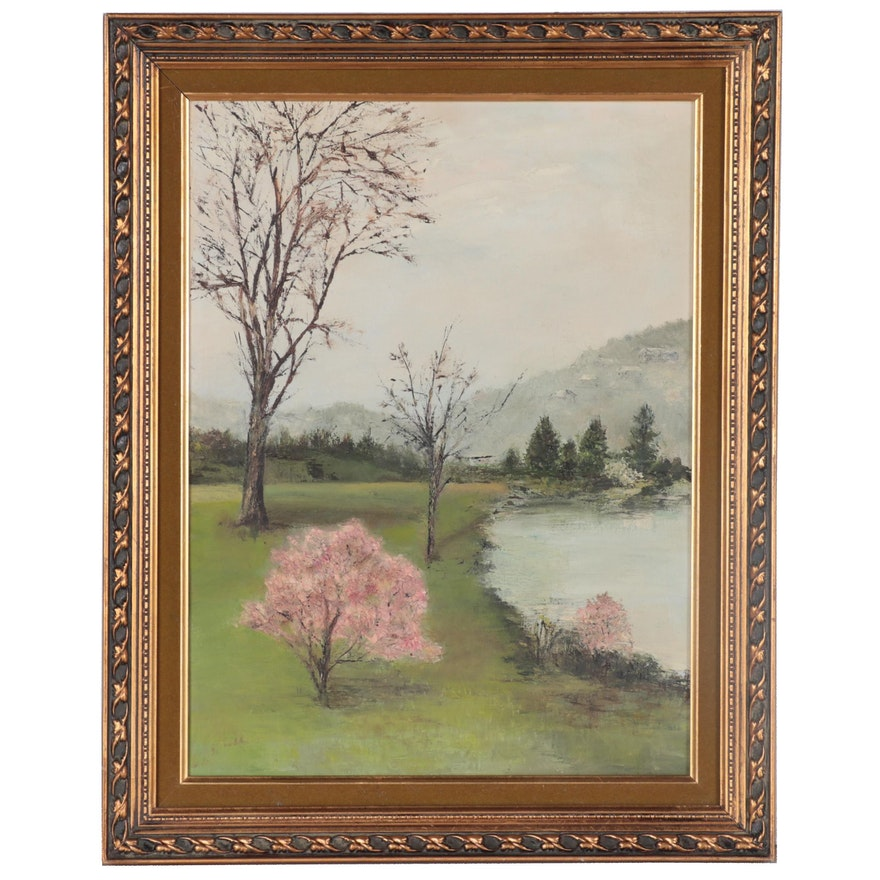 Susan Lagemann Landscape Oil Painting of Trees and Lake, 1975