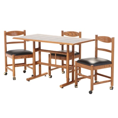Four-Piece Dinaire Corp. Oak Dining Set, Late 20th Century