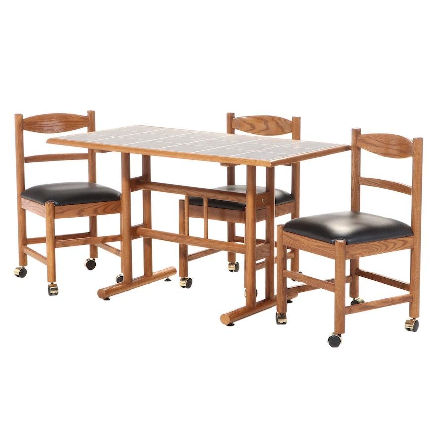 Four-Piece Dinaire Corp. Oak Dining Set, Late 20th Century
