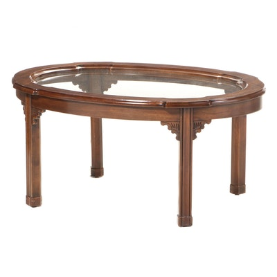 Harden Chippendale Style Cherrywood and Glass Top Coffee Table, Late 20th C.