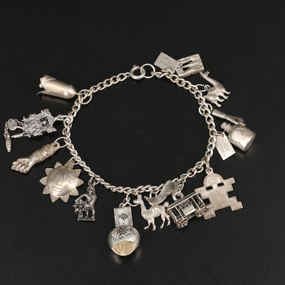 Vintage Charm Bracelet with Sterling, 800 Silver and Articulated Charms