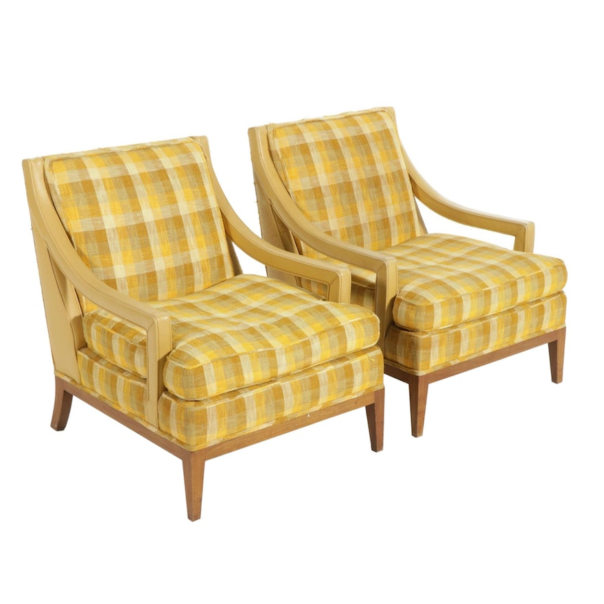 Pair of Erwin Lambeth Plaid Upholstered Armchairs, Mid-20th Century