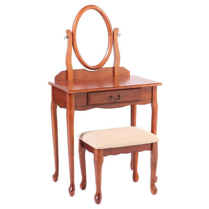 Powell Queen Anne Style Cherrywood-Stained Vanity Table and Stool