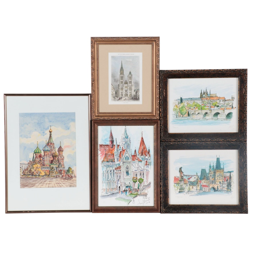 Watercolor Paintings and Prints of European Architecture