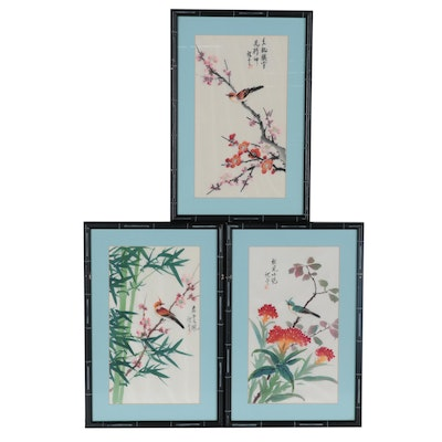 Japanese Gouache Paintings of Birds and Flowers, Mid-Late 20th Century