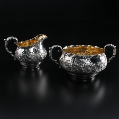 Gorham Repoussé and Chased Sterling Silver Creamer and Sugar Bowl, 1892