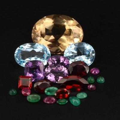 Loose 46.98 CTW Citrine, Swiss Blue Topaz, Amethyst and Additional Gemstones
