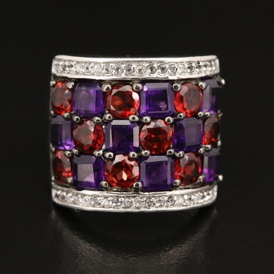 Sterling Multi-Row Ring with Amethyst, Garnet and White Topaz