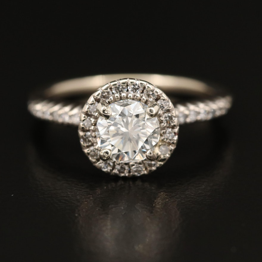 14K 1.23 CTW Diamond Halo Ring with Online GIA Report