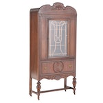 Jacobean Style Walnut, Walnut-Stained, & Grain-Painted China Cabinet, circa 1930