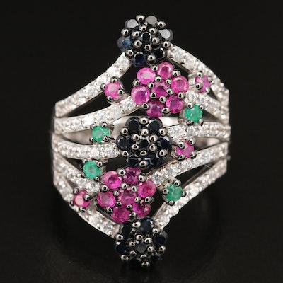 Sterling Floral Multi-Row Ring with Emerald, Ruby and Sapphire