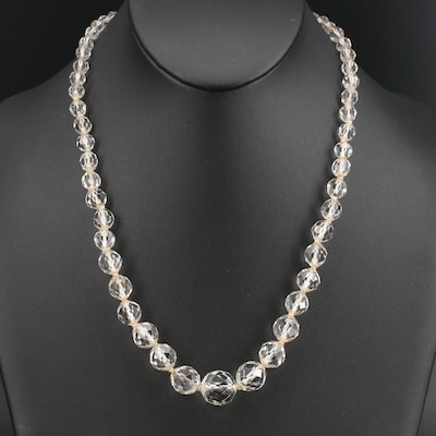 Vintage Graduated Crystal Necklace with 14K Clasp