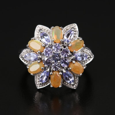 Sterling Opal and Tanzanite Floral Ring