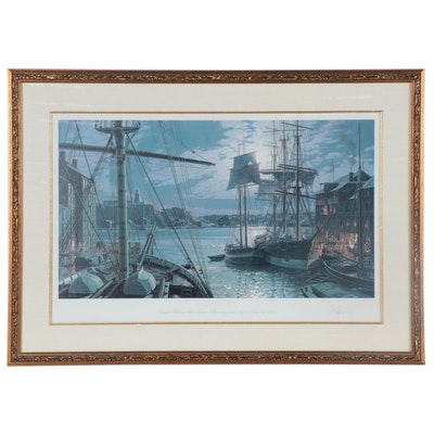 John Stobart Offset Lithograph of Baltimore Harbor, circa 2000