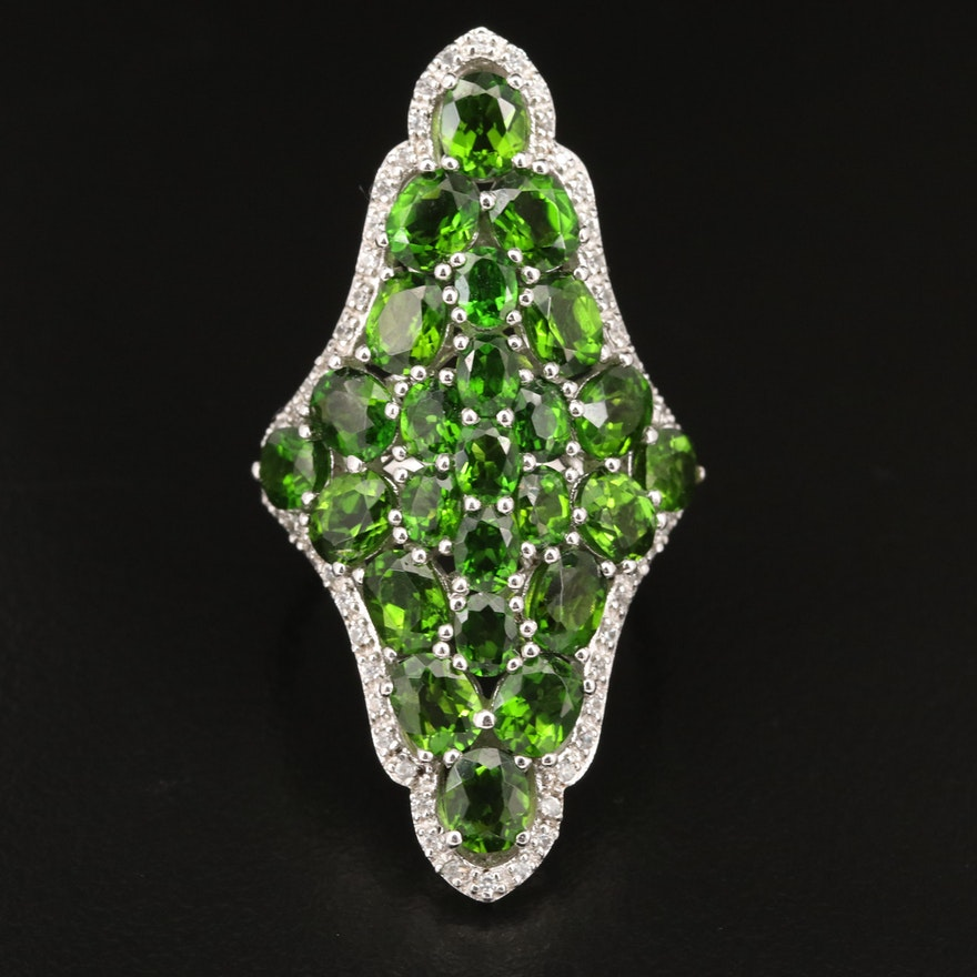 Sterling Silver Diopside and Zircon Ring