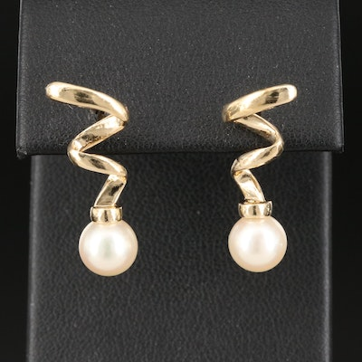 14K Pearl Spiral Earrings