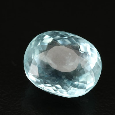 Loose 6.84 CT Oval Faceted Aquamarine