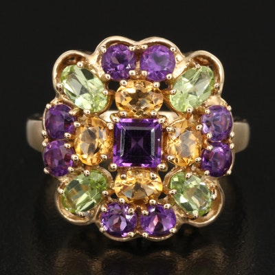 14K Amethyst, Citrine and Peridot Ring