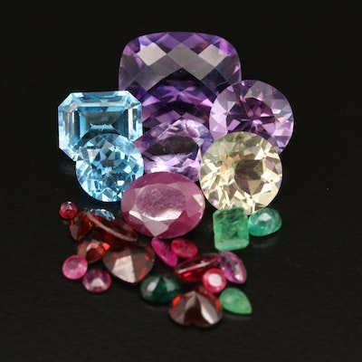 Loose 32.23 CTW Mixed Gemstones Including Amethyst, Topaz and Ruby