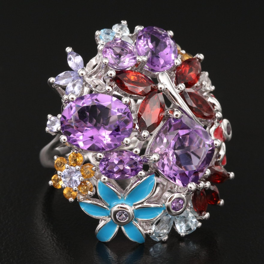 Sterling Gemstone Floral Ring with Butterfly Accent