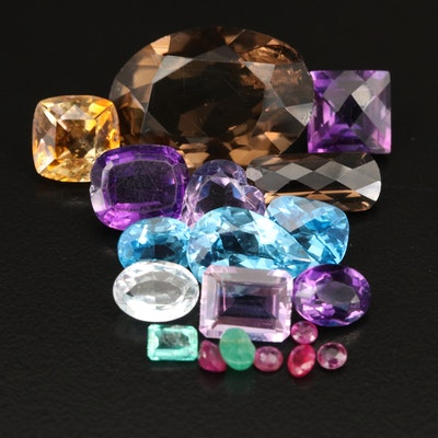 Loose 70.00 CTW Mixed Gemstones with Smoky Quartz, Swiss Blue Topaz and Amethyst