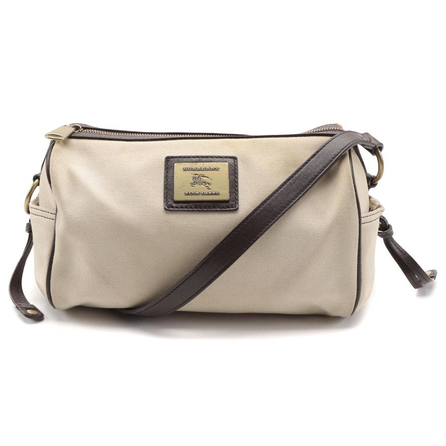 Burberry Blue Label Canvas Shoulder Bag with Brown Leather Trim