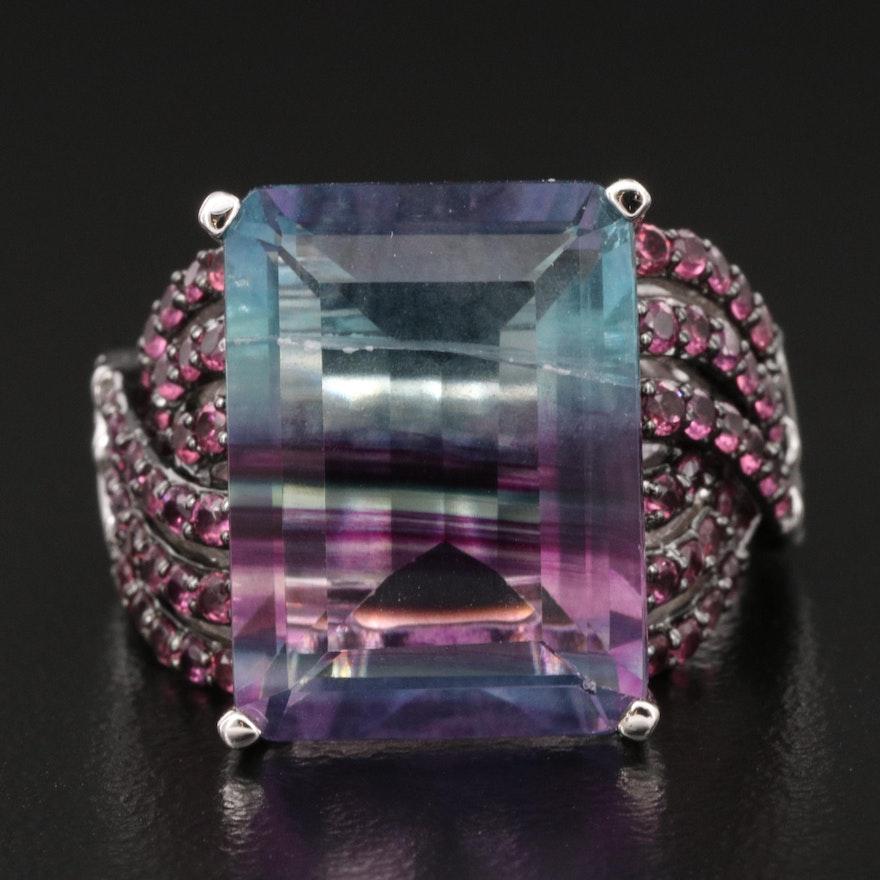 Sterling Bi-Color Fluorite and Rhodolite Garnet Ring with Twist Shoulders