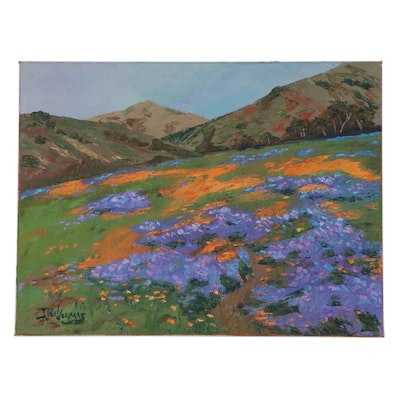 "James Baldoumas Oil Painting ""California Wildflowers"""