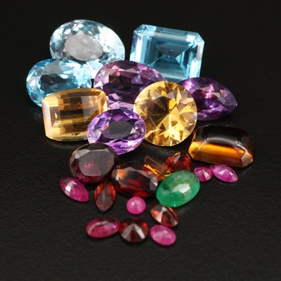 Loose 34.34 CTW Mixed Gemstones Including Swiss Blue Topaz, Amethyst and Citrine