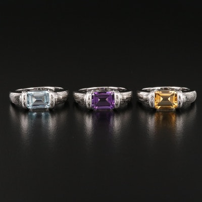 Sterling Citrine, Topaz and Amethyst Rings with Textured Shoulders