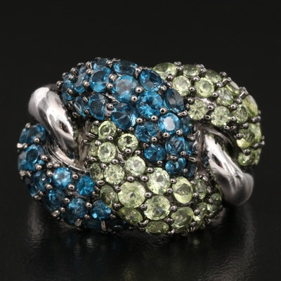 Sterling London Blue Topaz and Peridot Link Style Ring