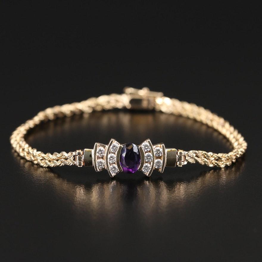 14K Diamond and Amethyst Bracelet